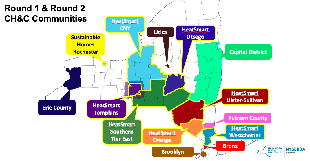 Map of Round 1 and Round 2 Clean Heating and Cooling Communities in New York State